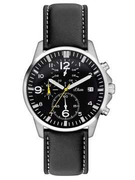 sOliver Herren-Armbanduhr XL Chronograph Leder SO-2378-LC