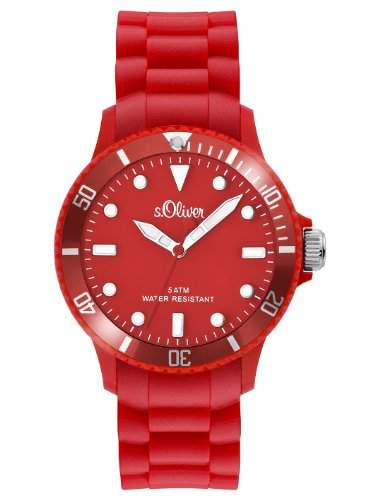 sOliver Unisex-Armbanduhr Medium Size Analog Silikon rot SO-2423-PQ