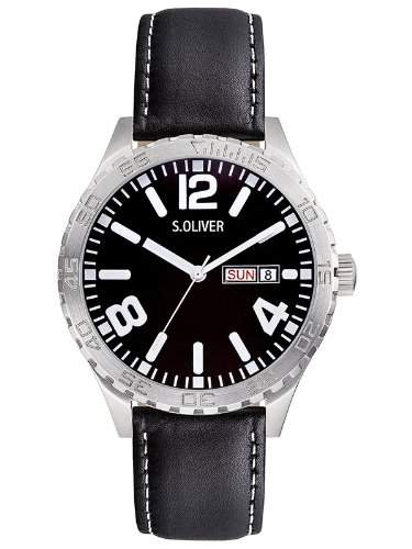 sOliver Herren-Armbanduhr XL Analog Quarz Leder SO-2631-LQ