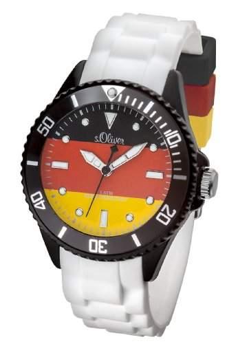 sOliver Fussball WM Damen-Armbanduhr Deutschland Analog Quarz Silikon SO-2890-PQ