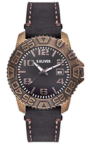 sOliver Herren-Armbanduhr XL Analog Quarz Leder SO-2933-LQ