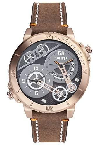 sOliver Herren-Armbanduhr XL Analog Quarz Leder SO-2949-LQ
