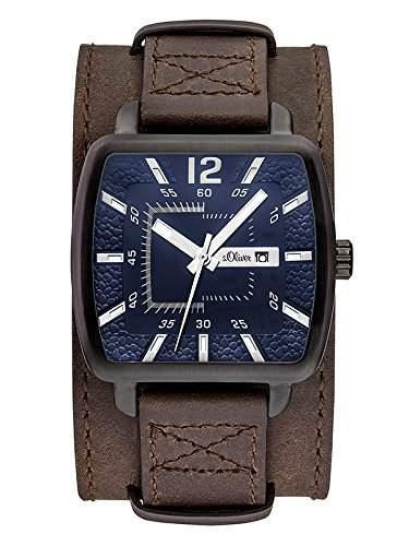 sOliver Herren-Armbanduhr Analog Quarz Leder SO-3048-LQ