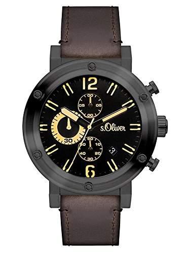 sOliver Herren-Armbanduhr Analog Quarz Leder SO-3096-LC