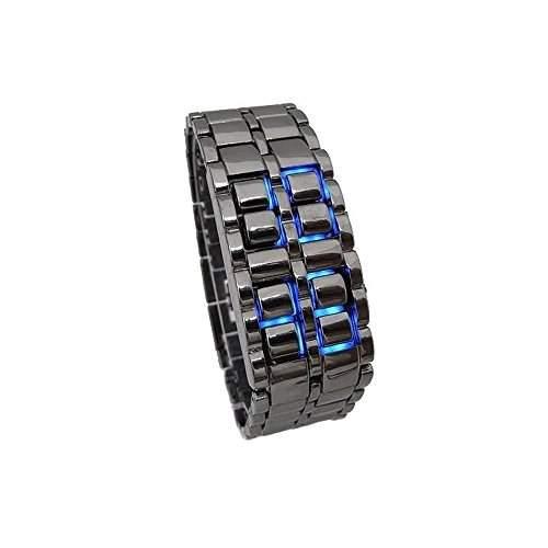 Accmart TM Uhr Edelstahl LED Armbanduhr Herren Unisex Armband Blau