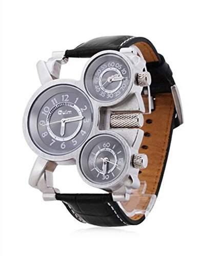 Accmart TM OULM Herren Armbanduhr Quarz-Armbanuhr Sportuhr mit 3 Zeitzone PU Lederband schwarz