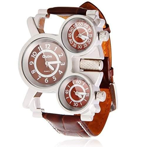 Accmart TM OULM Herren Maenner Quarz-Armbanuhr mit 3 Zeitzone & PU Lederband Braun
