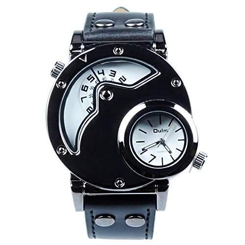 Accmart TM OULM Fashion Herren Armbanduhr 2 Zeitzone Lederband Weiss