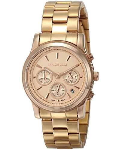Taylor Cole Damen Armbanduhr Analog Edelstahl Armband Chronographwerk Datumanzeige TC005