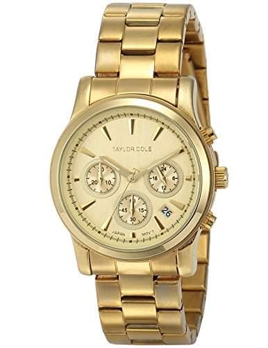 Taylor Cole Damen Armbanduhr Analog Edelstahl Armband Chronographwerk Datumanzeige TC006