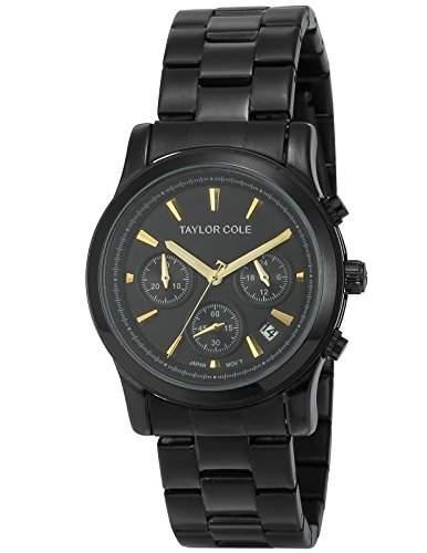 Taylor Cole Damen Quarzuhr XL Analog Edelstahl Armband Chronographwerk Datumanzeige TC008