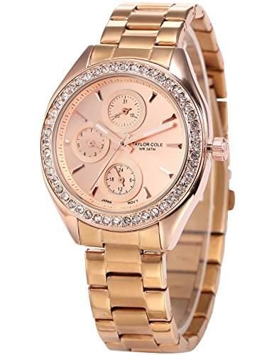Taylor Cole Damen Quarz Armbanduhr XL Analog Edelstahl Uhrband Datumanzeige TC009