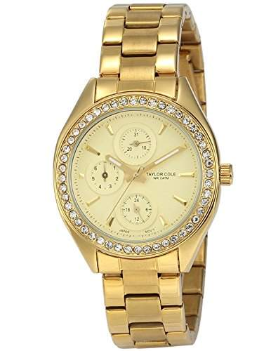 Taylor Cole Damen Quarz Armbanduhr XL Analog Edelstahl Uhrband Datumanzeige TC010