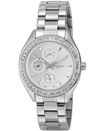 Taylor Cole Damen Quarz Armbanduhr XL Analog Edelstahl Uhrband Datumanzeige TC011