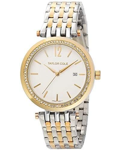 Taylor Cole Damen Quarz Armbanduhr XL Analog Edelstahl Uhrband Datumanzeige TC014