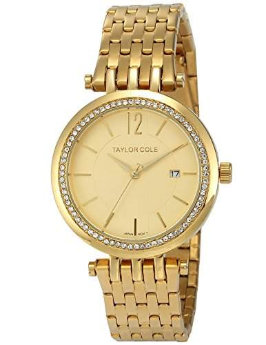 Taylor Cole Damen Quarz Armbanduhr XL Analog Edelstahl Uhrband Datumanzeige TC016
