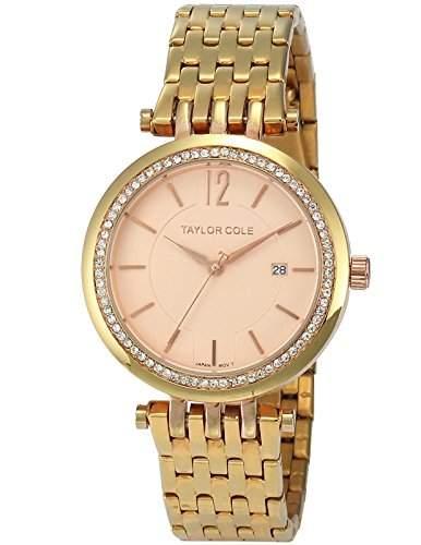 Taylor Cole Damen Quarz Armbanduhr XL Analog Edelstahl Uhrband Datumanzeige TC017