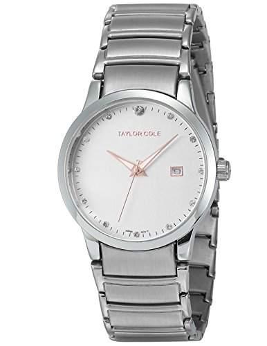 Taylor Cole Damen Quarz Armbanduhr XL Edelstahl Uhrband Datumanzeige TC019