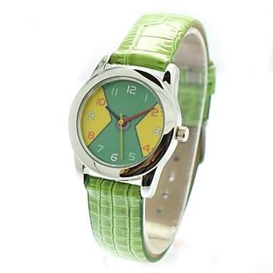 MOFY Kinder Casual Style PU-Band Quarz-Armbanduhr verschiedene Farben , GrŸn