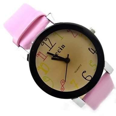 MOFY Kinder Farbe Nummer zu wŠhlen pu-Band Quarz-Analog-Armbanduhr farbig sortiert , braun