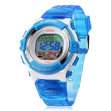 MOFY Kinder Digital LCD Multifunktions-Silikon-Band-Armbanduhr verschiedene Farben , Blau