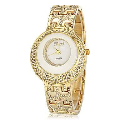 MOFY Frauen Doppel Diamante runden Zifferblatt Legierung Band Quarz Analog Armband Uhr verschiedene Farben , Gold