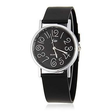 MOFY Frauen Einfache Zahlen Zifferblatt schwarz Rubber Band-Armbanduhr Quarz Analog verschiedene Farben , Schwarz