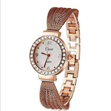 MOFY Frauen Strass Zifferblatt aus Edelstahl-Band Quarz Analog Mode Armbanduhr verschiedene Farben , Rotgold