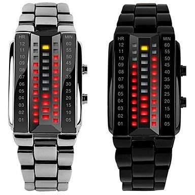 MOFY Skmei Fanshion LŠssige Alloy LED Lovers Armbanduhr 30m wasserdicht 3D Glas und FlŠchen-Design , Schwarz
