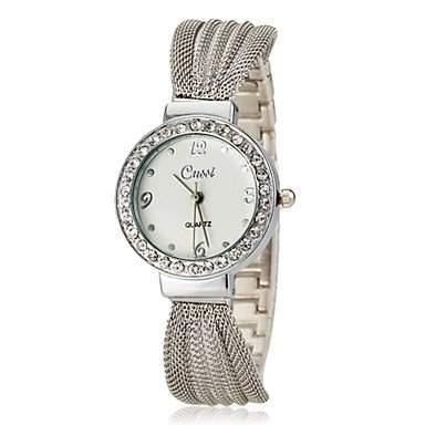MOFY Frauen Diamante runden Zifferblatt retiform Band Quarz Analog Armbanduhr verschiedene Farben , Silber