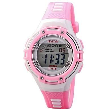 MOFY Kinder Multifunktions-LED-Digital-Sport PU-Band-Armbanduhr 30m Wasserdicht verschiedene Farben , Rosa