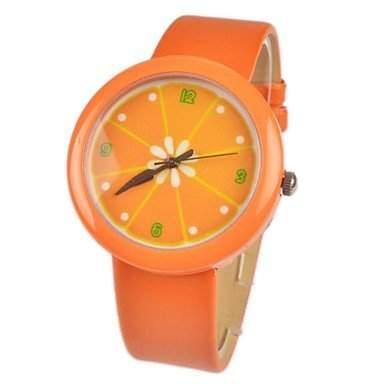 MOFY Kinder `nette orange Muster PU-Band-Quarz-Uhr verschiedene Farben , Gelb