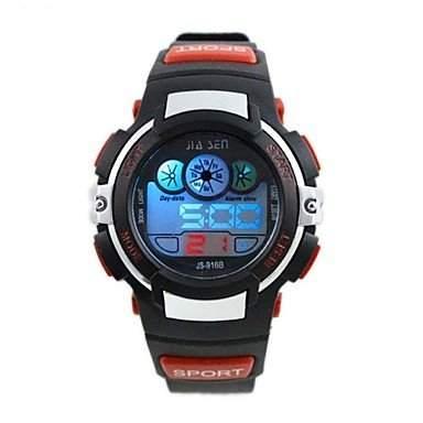 MOFY Kinder runden Zifferblatt PU-Band Multifunktions-LED Sport-Armbanduhr 30m wasserdicht verschiedene Farben , red