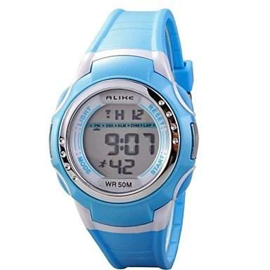 MOFY Childrens Multi-Functional Round Dial LCD Digital Wrist Watch 50m Waterproof Assorted Colors , Blau