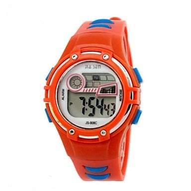 MOFY Kinder runden Zifferblatt PU-Band Multifunktions-LED Sport-Armbanduhr 30m wasserdicht verschiedene Farben , Rosa