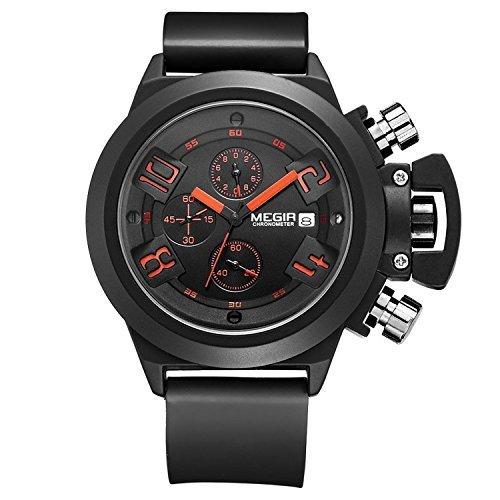 megir Herren Sport Outdoor Uhr mit Chronograph und Kalender phosphoreszierende Zeiger Handgelenk Schwarz Multifunktions Uhr