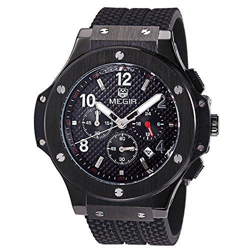 megir Silikon Chronograph Military Quarz Schwarz Armbanduhr Luminous relogio Masculino