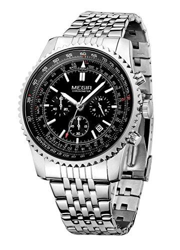 megir Herren Military Edelstahl Band Armbanduhr mit Chronograph und Kalender Funktion Helle Quarz Handgelenk watch silver