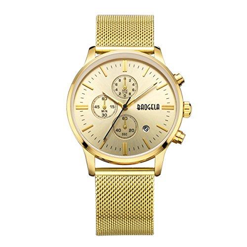 Baogela Herren Gold Ton Edelstahl Stahl Chronograph Kalender Legierung Quarz Armbanduhr