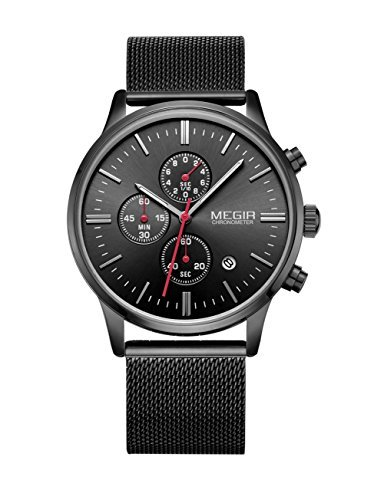 megir Mesh Band Uhren Fashion Luminous 6 hand Analog Chronograph 3 ATM Wasserdicht Quarz Uhren