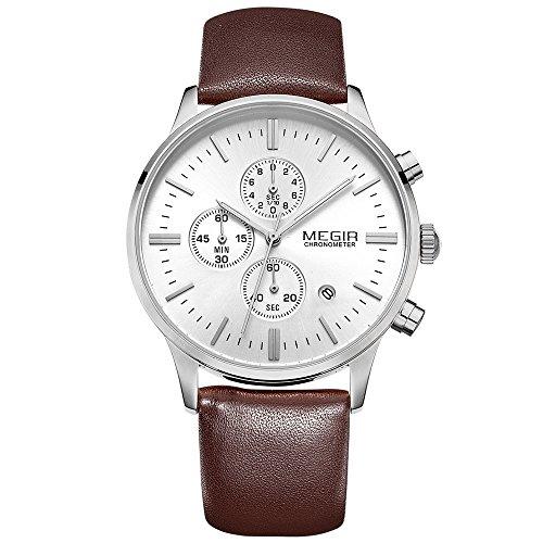 megir Herren Sport wasserdicht mit Lederband Quarz Uhren Chronograph Display