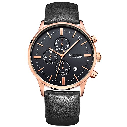 megir Herren Vintage Multifunktional Rose Gold Fall wasserdicht mit Lederband Uhren