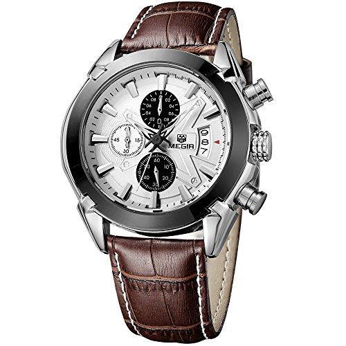 megir Herren Klassische Quarz Armbanduhr mit Silber Zifferblatt Chronograph Anzeige und langlebige braun Lederband