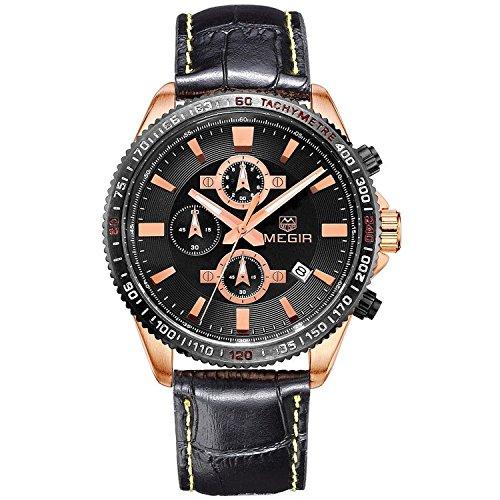 megir Sport Leder Band Luminous Quarz Herren Handgelenk watch mit Chronograph und Kalender Funktion