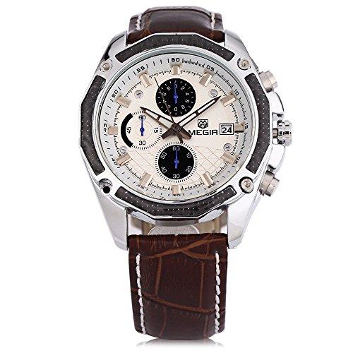 Leopard Shop megir M2015 Herren Quarz Armbanduhr Chronograph Datum Display 30 m Wasser Widerstand Leder Strap Armbanduhr Braun