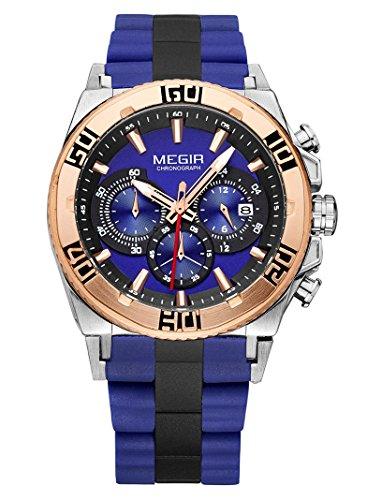 megir Herren Sport Outdoor Luminous Silikon Band Chronograph Kalender Wasserdicht Quarz Handgelenk watches blue