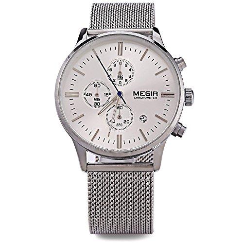 Leopard Shop megir M2011 Stecker Multifunktional Quarzuhr Armbanduhr Kalender Chronograph Luminous Pointer Wasser Widerstand Silber