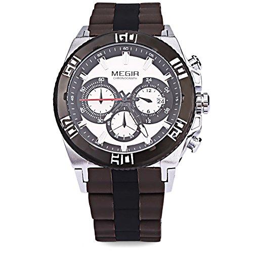 Leopard Shop megir M3009 Stecker Fashion Quarzuhr Luminous Zeiger Chronograph Kalender Wasser Widerstand Multifunktional Armbanduhr 4