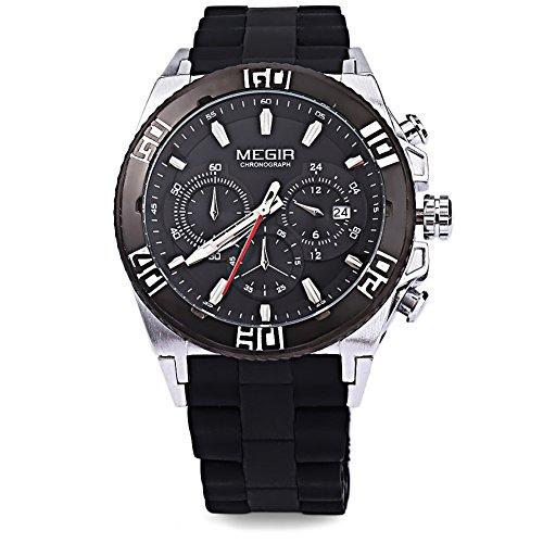 Leopard Shop megir M3009 Stecker Fashion Quarzuhr Luminous Zeiger Chronograph Kalender Wasser Widerstand Multifunktions Armbanduhr 3