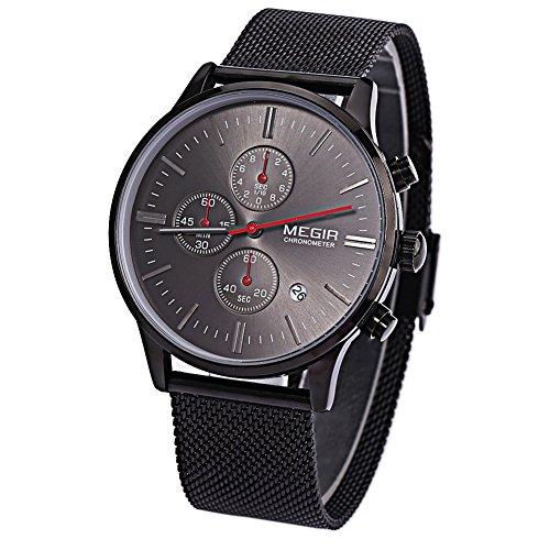 Megir Armbanduhr fuer Herren M2011 multifunktional Quarzuhr Armbanduhr mit Kalender Chronograph leuchtende Zeiger wasserdicht Schwarz